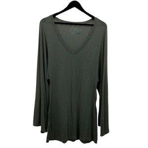 BLUE LIFE Gray V Neck Long Sleeve Shirt Dress XS